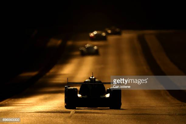 The Jackie Chan DC Racing Oreca of Alex Brundle David Cheng and Tristan Gommendy drives during qualifying for the Le Mans 24 Hour Race at Circuit de...