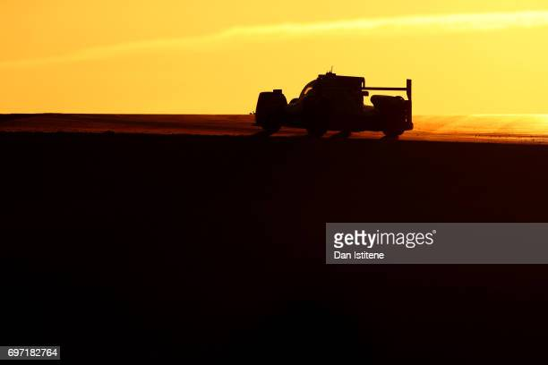 The Jackie Chan DC Racing Oreca of Alex Brundle David Cheng and Tristan Gommendy drives during the Le Mans 24 Hour Race at Circuit de la Sarthe on...