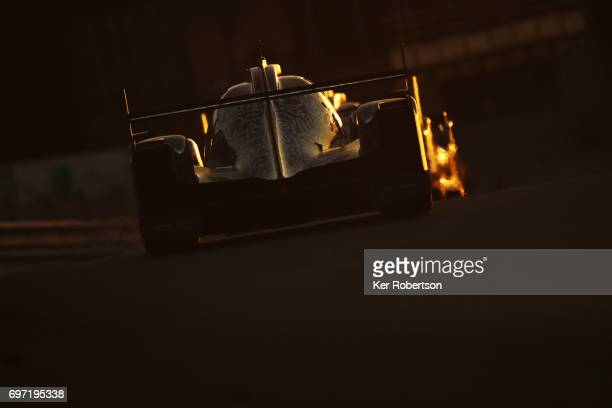 The Jackie Chan DC Racing Oreca of David Cheng Tristan Gommendy and Alex Brundle drives drives during the Le Mans 24 Hours race at the Circuit de la...