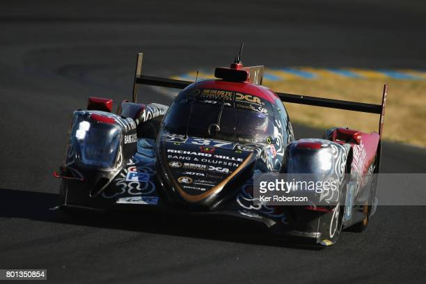 The Jackie Chan DC Racing Oreca of David Cheng Tristan Gommendy and Alex Brundle drives during the Le Mans 24 Hours race at the Circuit de la Sarthe...
