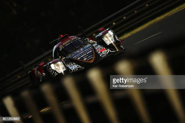 The Jackie Chan DC Racing Oreca of David Cheng Tristan Gommendy and Alex Brundle drives during qualifying for the Le Mans 24 Hours race at the...