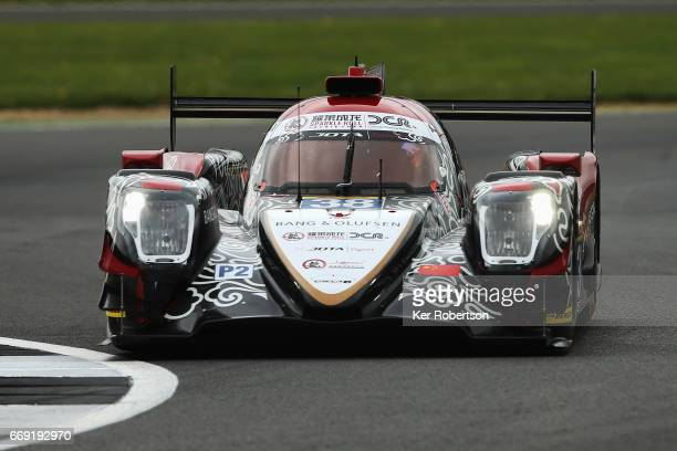 The Jackie Chan DC Racing Oreca of HoPin Tung Oliver Jarvis and Thomas Laurent drives during practice for the FIA World Endurance Championship at...