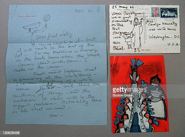 The Jackie Kennedy exhibit at the JFK Library includes a letter post card and illustration to Jacqueline and Carolyn from author Ludwig Bemelmans