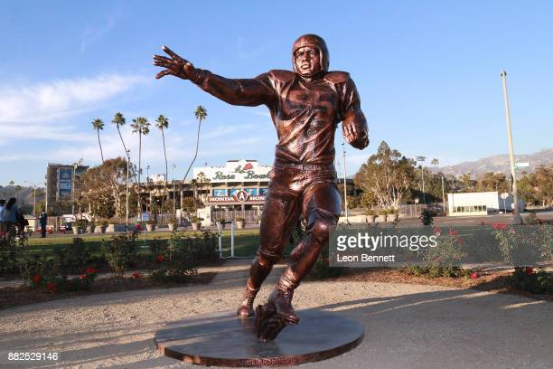 The Jackie Robinson Statue is seen at Rose Bowl on November 29 2017 in Pasadena California