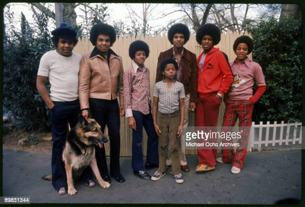 The Jackson brothers and their father Joseph pose for a portrait in the backyard of their home Los Angeles 1972 From left to right Tito Jackson...