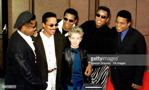 The Jackson Brothers right to left Randy Tito Marlen and Germaine with singer Billy Gilman arriving for the Michael Jackson Concert at Madison Square...