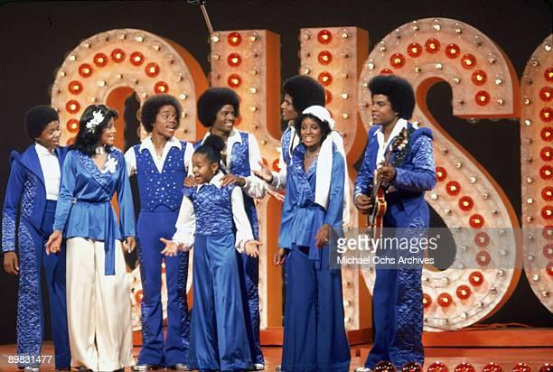 The Jackson family film a tv show at Burbank Studios, California, 13th November 1976. From left to right, Randy, La Toya, Marlon, Janet, Michael ,...
