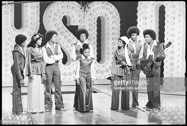 The Jackson family film a tv show at Burbank Studios California 13th November 1976 From left to right Randy La Toya Marlon Michael Janet Rebbie...