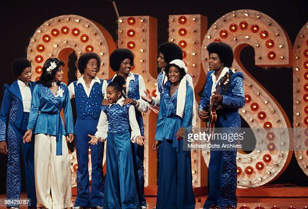 The Jackson family film a tv show at Burbank Studios California 13th November 1976 From left to right Randy La Toya Marlon Janet Michael Jackie...