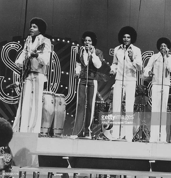 The Jackson Five on stage at Soul Train from left Jermaine Randy Tito and Michael August 16 1975