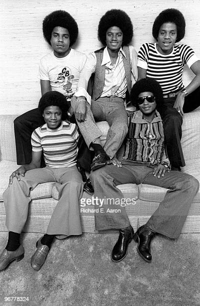 The Jacksons Jackson Five pose for a group portrait back Tito Jackson Michael Jackson and Marlon Jackson front Randy Jackson and Jackie Jackson in...
