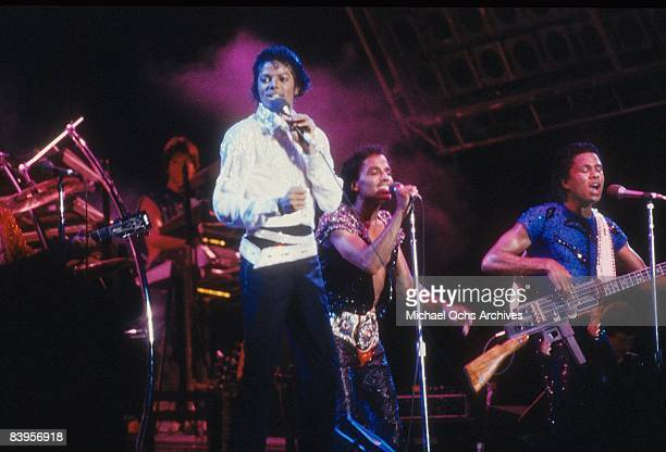 The Jacksons perform on stage during the Jacksons Victory Tour at Arrowhead Stadium on July 6, 1984 in Kansas City, Missouri.