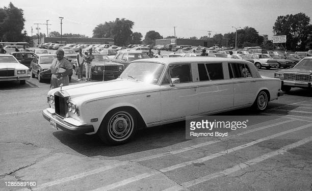 The Jacksons' Rolls Royce limousine arrives at Turning Point Records as they prepare to greet thousands of fans who turned out for their homecoming...