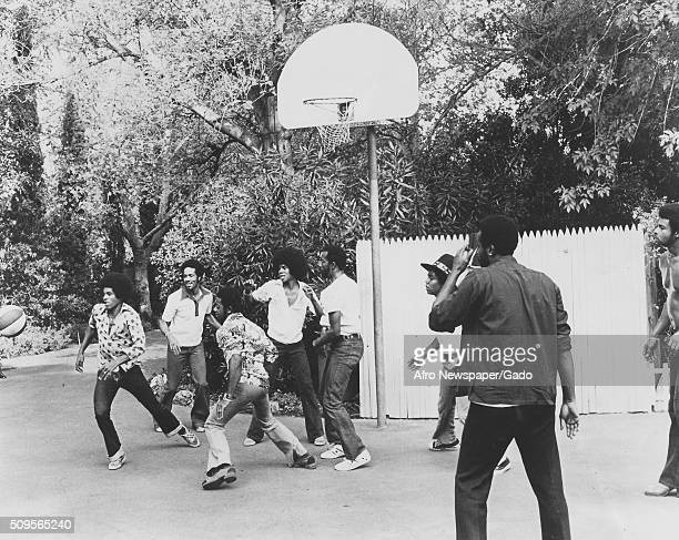 The Jacksons the Temptations and Marvin Gaye playing basketball September 30 1972