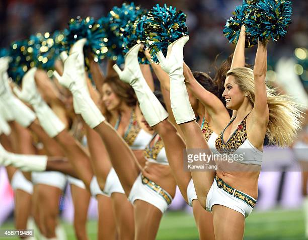 The Jacksonville Jaguars cheerleaders dance as the Dallas Cowboys play the Jacksonville Jaguars in an NFL match at Wembley Stadium on November 9 2014...
