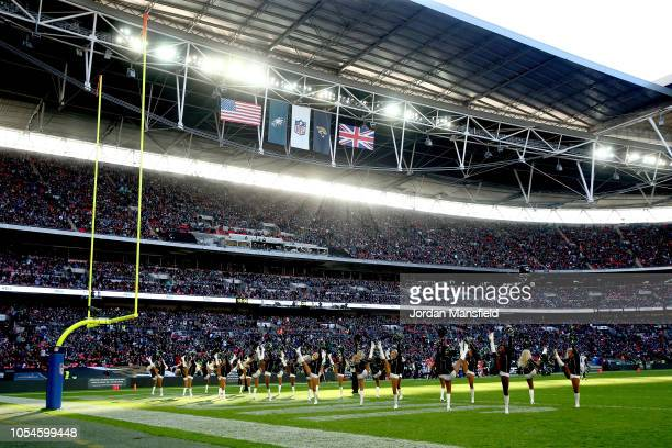 The Jacksonville Jaguars cheerleaders perform after the first quarter during the NFL International Series game between Philadelphia Eagles and...