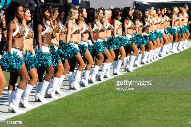 The Jacksonville Jaguars cheerleaders prepare to perform in the fourth quarter of the team's game against the New Orleans Saints at TIAA Bank Field...