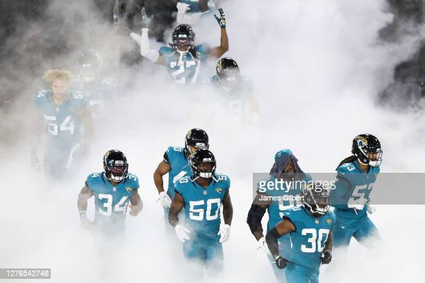 The Jacksonville Jaguars enter the field before the start of a game against the Miami Dolphins at TIAA Bank Field on September 24, 2020 in...