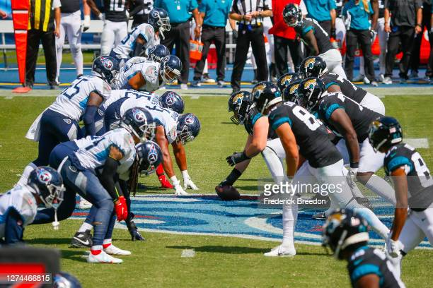 The Jacksonville Jaguars line up against the Tennessee Titans at Nissan Stadium on September 20 2020 in Nashville Tennessee