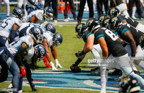 The Jacksonville Jaguars line up against the Tennessee Titans during the first half at Nissan Stadium on September 20 2020 in Nashville Tennessee