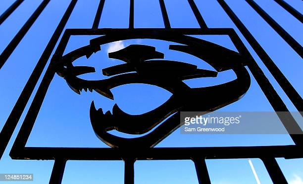 The Jacksonville Jaguars logo as seen on a fence prior to the game against the Tennessee Titans at EverBank Field on September 11 2011 in...