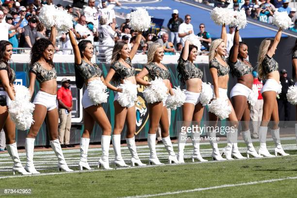 The Jacksonville Jaguars ROAR Cheerleaders performs during the game against the Los Angeles Chargers at EverBank Field on November 12 2017 in...