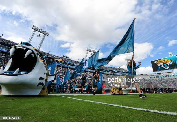 The Jacksonville Jaguars take the field before their game against the Pittsburgh Steelers at TIAA Bank Field on November 18 2018 in Jacksonville...
