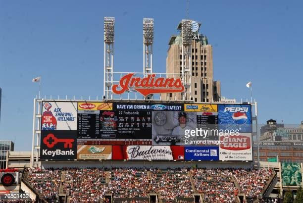 The Jacobs Field scoreboard is shown during a game between the Cleveland Indians and Chicago White Sox on Sunday September 2 2007 at Jacobs Field in...