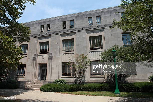 The Jacobs School of Music of Indiana University in Bloomington, Indiana, 2nd July 2012. The names of Bach, Mozart and Beethoven are inscribed on the...