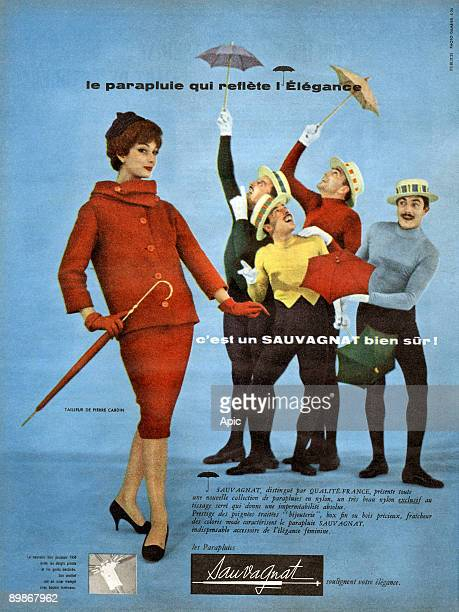 The Jacques Brothers in a publicity the umbrella Sauvagnat 1958 tailor Pierre Cardin