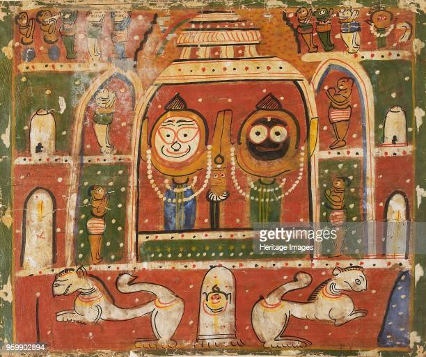 The Jagannatha Trio in the shrine at Puri 1931 or 1932 Dimensions height x width mount 405 x 556 cmheight x width page 38 x 499 cmheight x width...