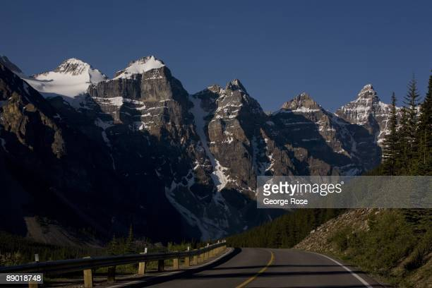 The jagged Valley of Ten peaks are seen along the road to Moraine Lake in this 2009 Lake Louise, Canada, summer morning landscape photo.