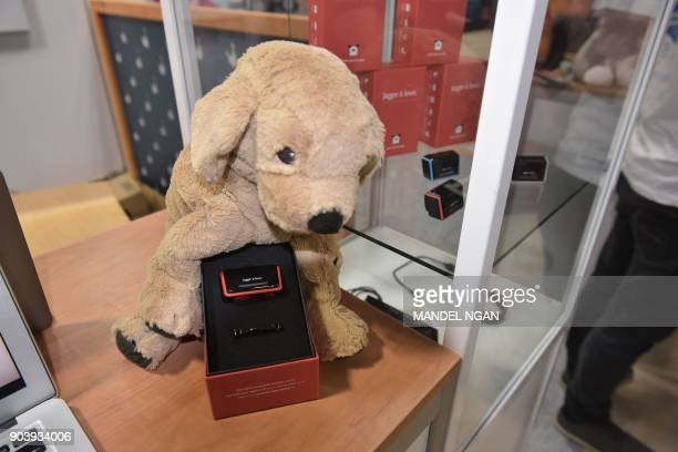 The Jagger Lewis emotional and activity tracker for dogs is seen at the Eureka Park startups area during CES 2018 in Las Vegas on January 11 2018...
