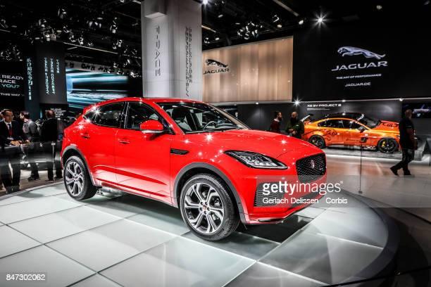 The Jaguar EPace on display at the 2017 Frankfurt Auto Show 'Internationale Automobil Ausstellung' on September 13 2017 in Frankfurt am Main Germany