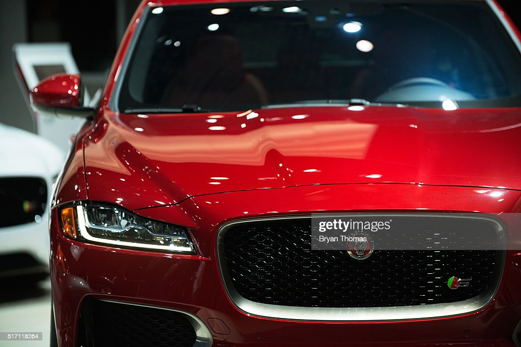 The Jaguar F-Pace is introduced at the New York International Auto Show at the Javits Center on March 23, 2016 in New York City. The F-Pace is Jaguar's first SUV and was released alongside the 567 horsepower luxury sports car, the Jaguar F-Type SVR.