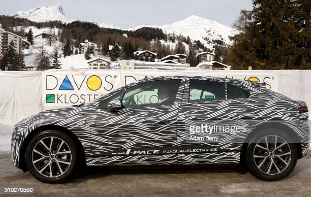 The Jaguar IPACE electric automobile is driven on January 25 2018 in Davos Switzerland Jaguar Land Rover presented its new electric car the Jaguar...