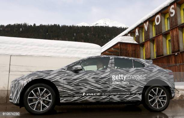 The Jaguar IPACE electric automobile is seen on January 25 2018 in Davos Switzerland Jaguar Land Rover presented its new electric car the Jaguar...