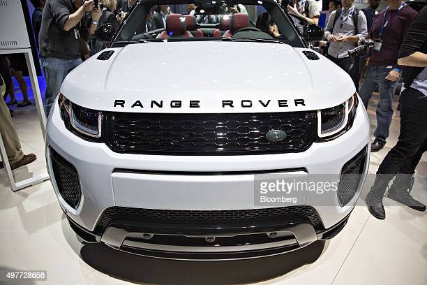The Jaguar Land Rover Automotive PLC 2017 Range Rover Evoque convertible sports utility vehicle is displayed during the Los Angeles Auto Show in Los...