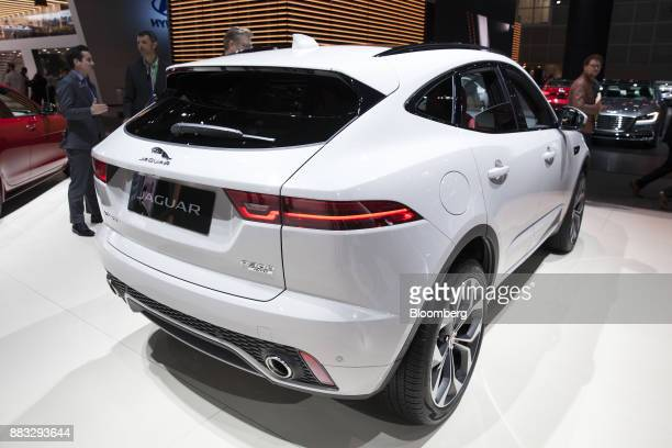 The Jaguar Land Rover Automotive Plc EPace sports utility vehicle is displayed during AutoMobility LA ahead of the Los Angeles Auto Show in Los...