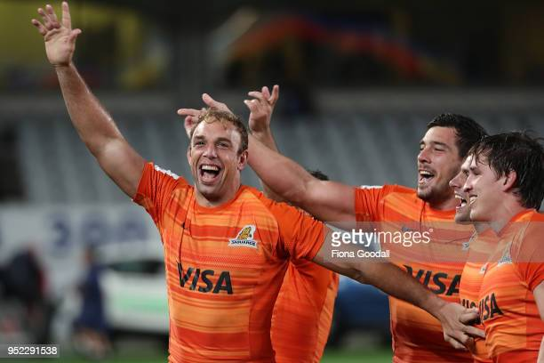 The Jaguares celebrate a win over the Blues during the Super Rugby round 11 match between the Blues and Jaguares at Eden Park on April 28 2018 in...