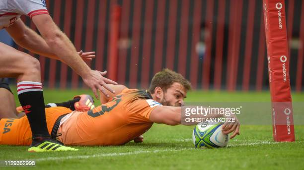The Jaguares's Matias Orlando scores a try during the Super Rugby match Emirates Lions against Jaguares at the Emirates Airline Park Stadium...