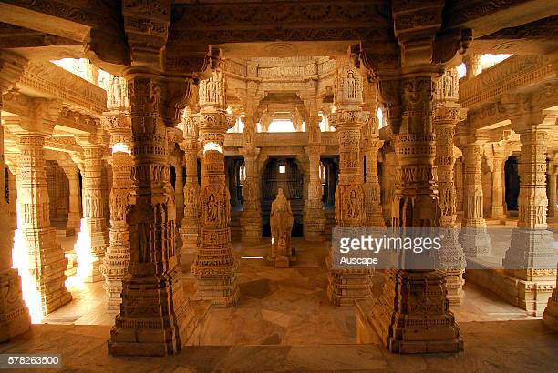 The Jain temple of Ranakpur called the Chaumukha temple built in 1439 No two of the 1444 intricately carved marble columns are alike Ranakpur Pali...