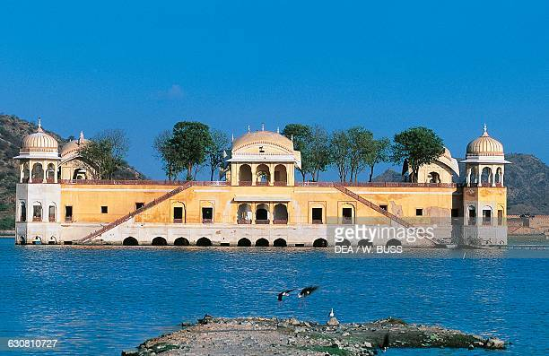 The Jal Mahal or Water Palace in the middle of the Man Sagar Lake Jaipur Rajasthan India 18th century