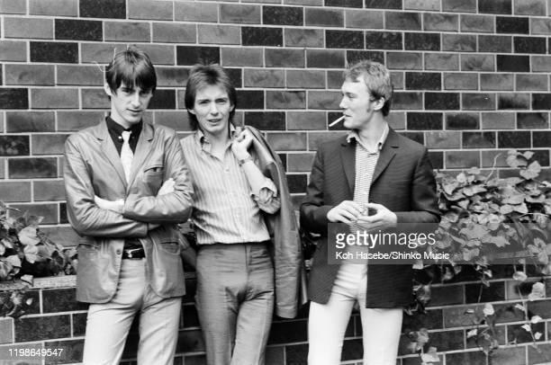 The Jam, group portrait at a hotel in Tokyo, Japan, July 1980. L-R Paul Weller, Bruce Foxton, Rick Buckler.