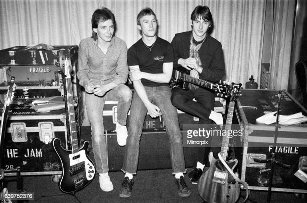 The Jam Music Group 22nd April 1980 Band members Bruce Foxton Rick Buckler Paul Weller Pictured at London Recording Studio