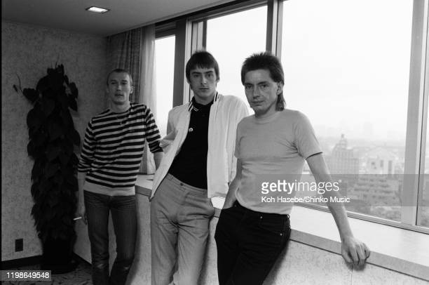 The Jam portrait during an interview in a hotel in Tokyo Japan 14th June 1982 LR Rick Buckler Paul Weller Bruce Foxton