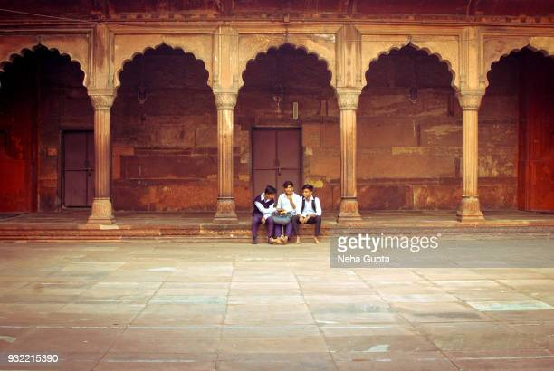 the jama masjid, new delhi, india - three musketeers - neha gupta stock pictures, royalty-free photos & images