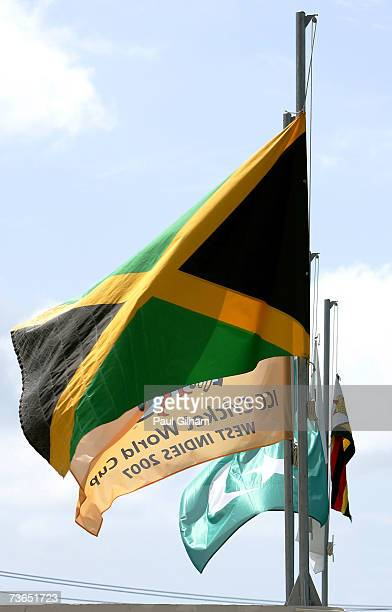 The Jamaican and Pakistan flag alongside the ICC Cricket World Cup 2007 Flag is seen at half mast during the ICC Cricket World Cup 2007 Group D match...