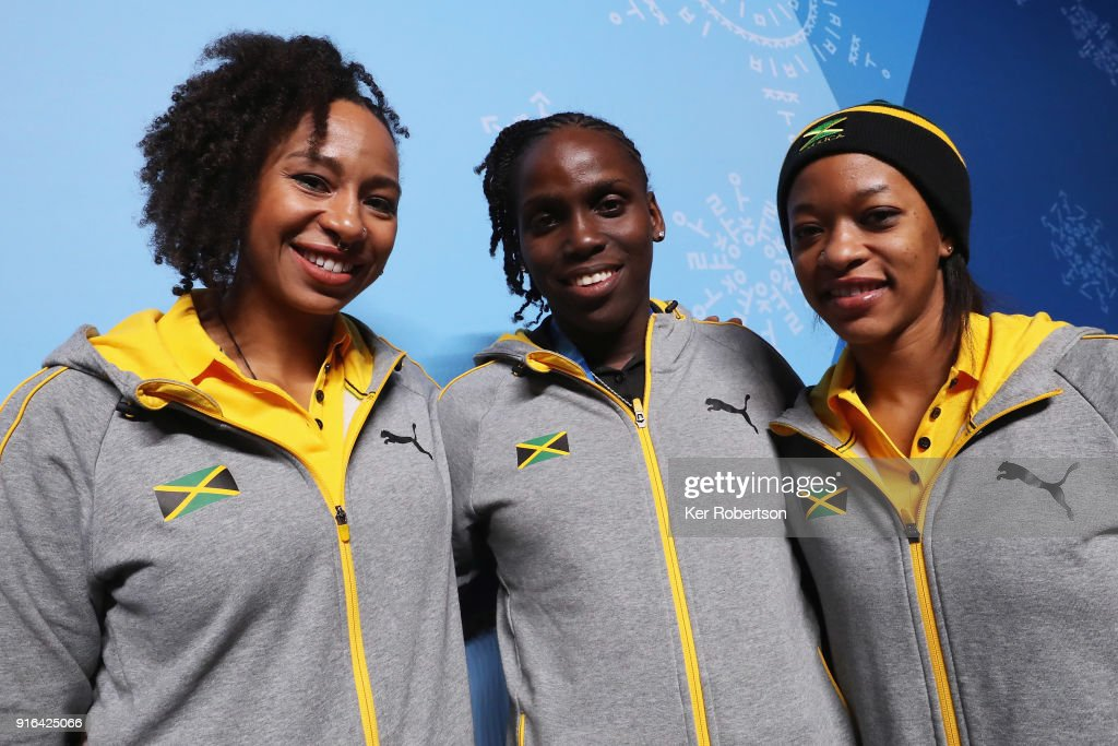 The Jamaican Women's Bobsleigh team of Jazmine Fenlator-Victorian, Carrie Russell and Audra Segree attend a press conference at the Main Press Centre the PyeongChang 2018 Winter Olympic Games on February 10, 2018 in Pyeongchang-gun, South Korea.