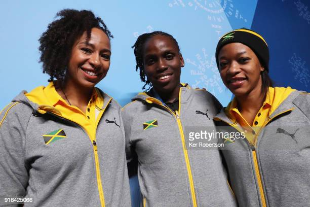 The Jamaican Women's Bobsleigh team of Jazmine FenlatorVictorian Carrie Russell and Audra Segree attend a press conference at the Main Press Centre...
